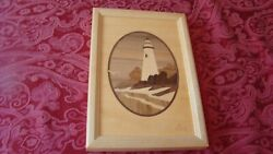 Hudson River Inlay Wood Marquetry Picture Marblehead Lighthouse Nelson