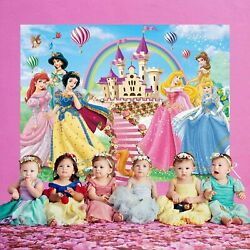 Princess Backdrop Disney for Girl Baby Shower Birthday Banner Background 5x7ft $31.99