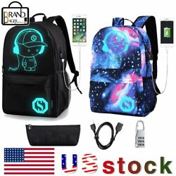 Galaxy Luminous ANTI THEFT Backpack School Shoulder Bag With USB Charging Port $18.99