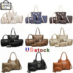 6Pcs 3PCS Sets Women PU Leather Handbags Brand Tote Satchel Purse Shoulder Bags $27.99