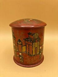 Antique Hand Painted Asian/chinese Tin Tea Caddy Box W/double Lid