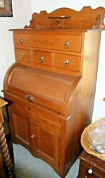 Rare Old Antique 1880s The Queen Spoon Carved Dough Board Cupboard Cabinet