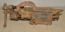 Antique Rare Cheney's Improved 1914 Vise Drill Chuck And Anvil Collectible Tool