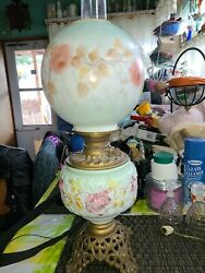 Antique Converted Oil Lamp Hand Painted Double Globe Electric Gwtw Hurricane