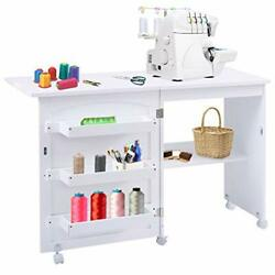 Sewing Craft Table Folding Sewing Machine Tables Foldable Desk Storage Cabinet