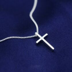 Sterling Silver 925 Small Plain Cross Child#x27;s Pendant Necklace $12.50