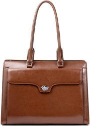 CLUCI Genuine Oil Wax Leather Briefcase for Women Vintage 15.6 Inch Laptop Large