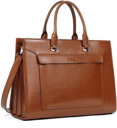 CLUCI Oil Wax Leather Briefcase for Women Vintage Laptop 15.6 Inch Slim Large