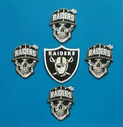 5 Nfl Las Vegas 3 Inch Raiders Patches Sew/iron On W/ Free Shipping.