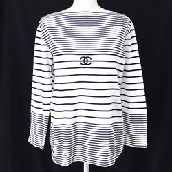 CHANEL CC Logos Border Long Sleeve Tops Shirts Black White Authentic GS02700