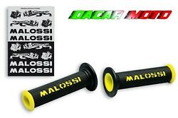 Knobs Black With Logo Malossi Yellow Without Closing Side All Vehicles Ø22-24mm