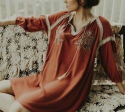 S Boho Embroidered Embroidery amp; Lace Bohemian Small Rusty Coral Dress NEW NWT