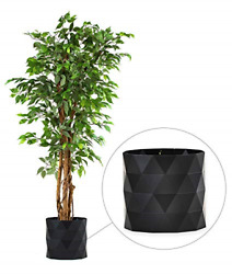 Deluxe Tall Ficus Silk Leaf Artificial Tree Plant Pot Skirt Wide With Green L...