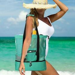 Mesh Beach tote Bag with Cooler Insulated Picnic Waterproof Zipper Tote Bags $24.99