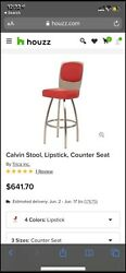 """Set Of 3 Trica Designer """"calvin"""" Counter Stool, Lipstick Red, Stainless Steel"""