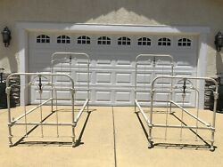 Antique Identical Twin Beds Set White And Brass Drop And Rails Circa 1928