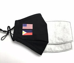 US amp; PHILIPPINE FLAG Designer Black Reusable Face Mask With 2 Filters 🇺🇸🇵🇭 $9.50
