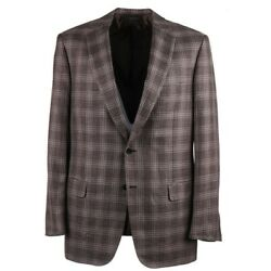 Brioni And039colosseoand039 Brown And Purple Layered Check Wool-silk-linen Sport Coat 48l