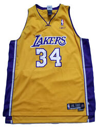 New 2003 2004 Reebok La Lakers Shaquille O'neal 34 Authentic Jersey Nba 2xl