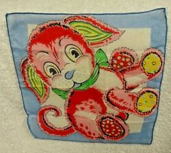 Child's Pink And Multicolor Puppy With Blue Edge   Handkerchief $10.00