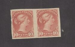 Canada 45c Vf-mnh Pair 10cts Small Queens Imperfs Cat Val 3000 Free Shipping