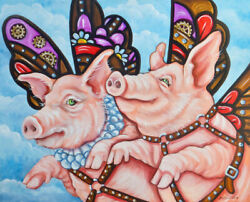 Olie Griffard Original Painting When Pigs Fly Steampunk Abstract Art Cogs Gears