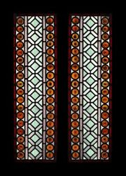 Awesome Victorian Amber Rondels Pair Antique Stained Glass Sidelights / Windows