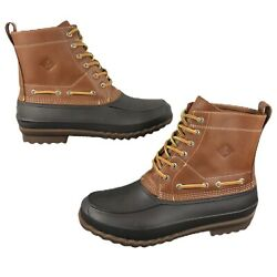 New Sperry Top-sider Decoy Leather Duck Bean Rain Boots Menandrsquos Size 11 Brown Tan
