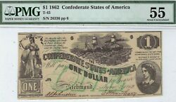 T-45 Pf-2 1 Confederate Paper Money 1862 - Pmg About Uncirculated 55