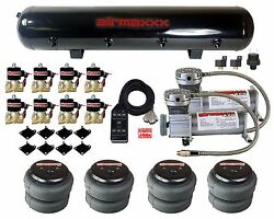 Air Compressors 400 Pewter 3/8 Valves 2500 Air Ride Bags Black 7 Switch And Tank