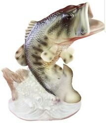 1988 Homco Masterpiece Porcelain Bass Fish Statue Figure Size 7 Tall
