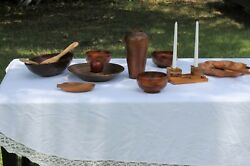 Eclectic 20 Piece Wood Dinner Table Bowls And Utensils Set Some Vintage