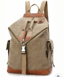 DAVIDNILE Canvas And Leather Backpack For Men And Women Laptop Bag Rucksack $30.00