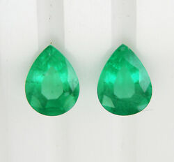 Colombian Emeralds 3.02ct Matching Pair Natural Colour +certificates Included