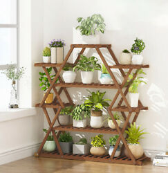 Wood Plant Stand Large Stable Triangle Design Indoor Outdoor Flower Rack Shelves