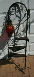 Vintage Mid Century Caged Glass Wall Mount Spiral Stair Shelf Plant Stand Lamp