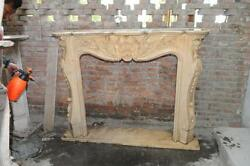 Hand Carved Beige Marble Fireplace Mantel French Design