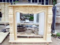 Hand Carved Marble Fireplace Mantel With Rosette Swags, Beige