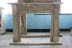 Attractive Classic Style Brown Travertine Fireplace Mantel Square Opening