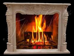 Majestic French Style Hand Carved Marble Fireplace Mantel, Egypt Beige 459