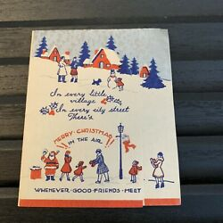 Vintage Greeting Card Scottie Dog Scottish Terrier Christmas Town Blue Red