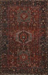 Antique Vegetable Dye Gharajeh Geometric Area Rug Hand-knotted Foyer Carpet 5x7