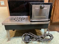 """1940's Vintage 9"""" Metal Ware Corp Black/chrome Childs Electric Steel Toy Stove"""
