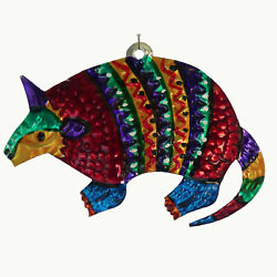 Armadillo Mexican Punched Tin Ornament Southwest Colorful Folk Art Mexico