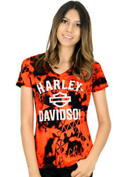 Harley Davidson Womens Harley Era II Safety Orange Short Sleeve V Neck T Shirt $14.99
