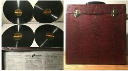 Antique Cortinaphone Spanish 30-course N Carrying Case Cortina 15 Records Rare
