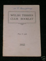 VERY RARE WELSH TERRIER DOG BOOK 1932 BY CLUB