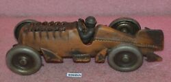 Rare Vintage Hubley Cast Iron Toy Race Car With Moving Pistons.