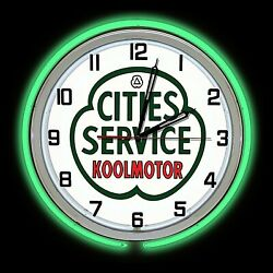 19 Cities Service Gas Oil Sign Green Double Neon Clock Man Cave Garage Station