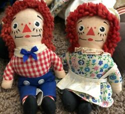 Rare Collection Of 6 Raggedy Ann And Andy Doll Knickerbocker-large Med. And Sm Sizes